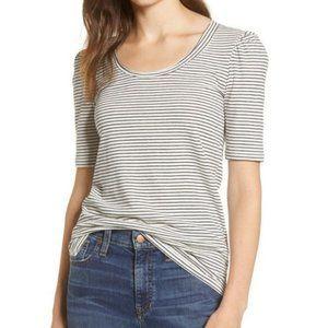 NWT caslon white black stipe puff sleeve top shirt